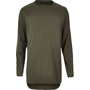 Khaki green longline long sleeve T-shirt