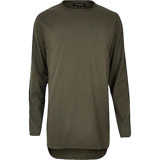 T-shirt long vert kaki à manches longues