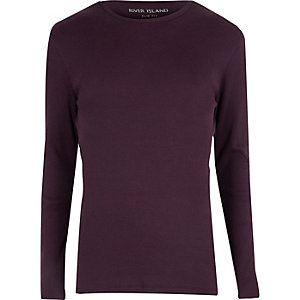 Purple ribbed slim fit T-shirt