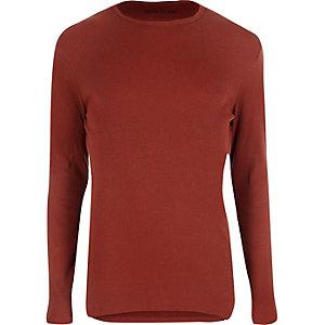 Dark orange ribbed slim fit T-shirt