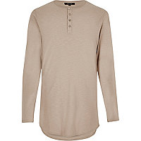 Stone grandad long sleeve T-shirt