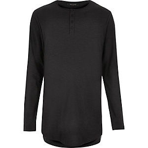 Black grandad long sleeve T-shirt