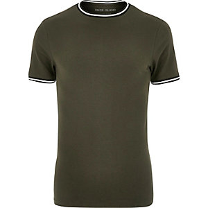 Khaki green tipped muscle fit T-shirt