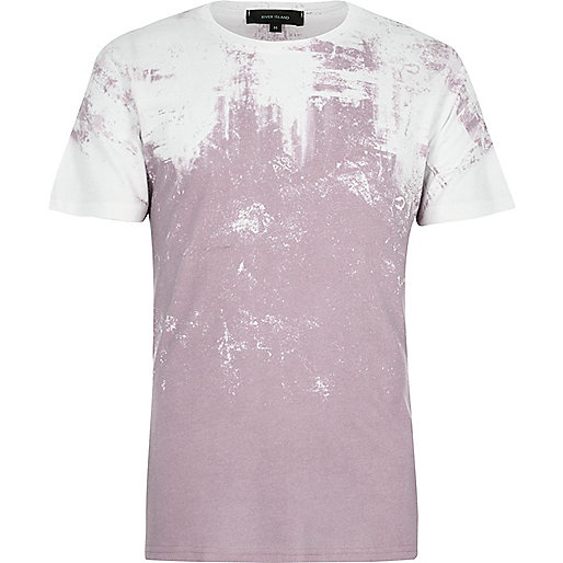 White and pink textured faded print T-shirt