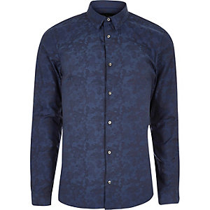Blue camo jacquard smart slim fit shirt
