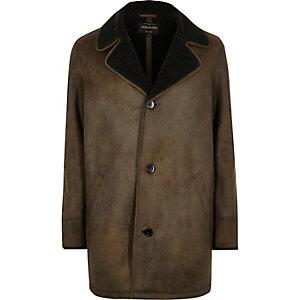 Khaki brown shearling lined coat