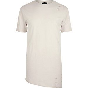 Stone ecru asymmetric holey T-shirt