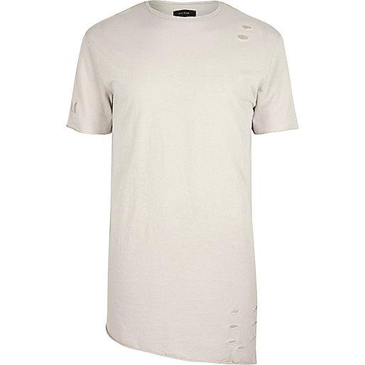 Steingraues, asymmetrisches T-Shirt