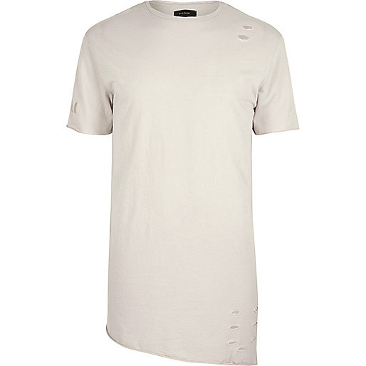 T-shirt grège écru troué asymétrique