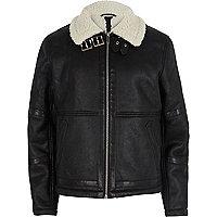 Black fleece collar aviator jacket