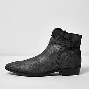 Black metallic leather Chelsea boots