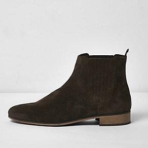 Dunkelgrüne Chelsea-Stiefel aus Wildleder
