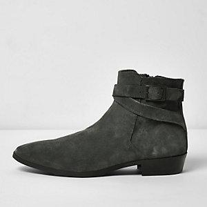 Dunkelgraue Chelsea-Stiefel aus Wildleder