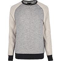 Graues Raglan-Sweatshirt mit Bahnendesign