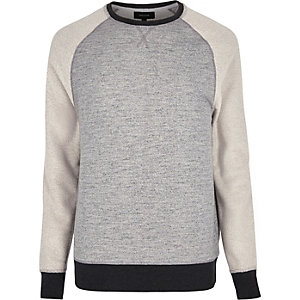 Grey panel long raglan sleeve sweatshirt