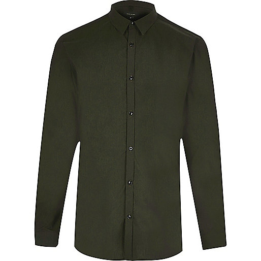 Green slim fit tonic shirt