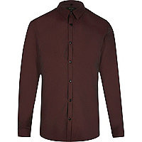 Red smart slim fit tonic shirt