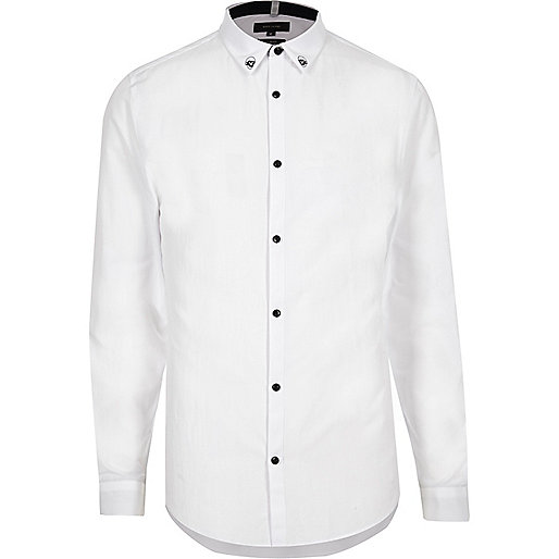 White skull collar formal slim fit shirt