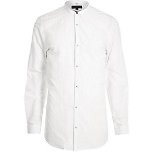 Langes, weißes Grandad-Hemd