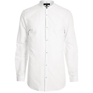 White collarless slim fit grandad shirt