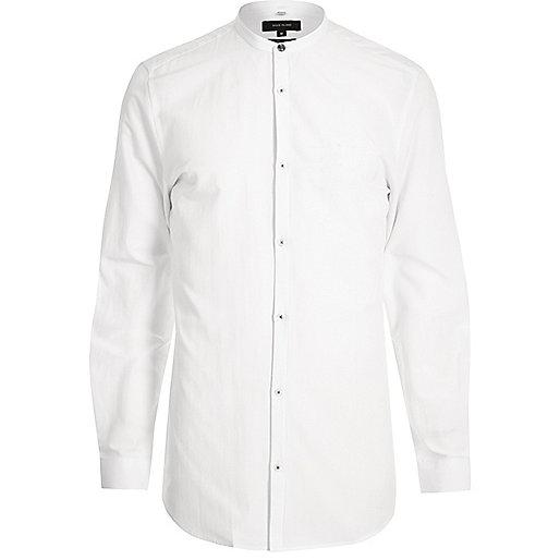 White collarless grandad shirt