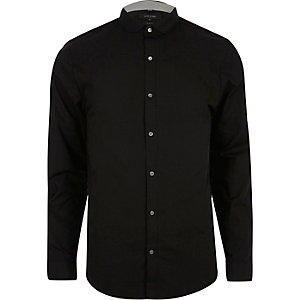 Black penny collar smart slim fit shirt