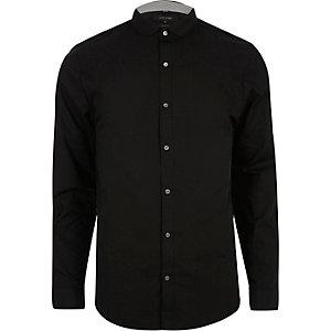 Chemise habillée noire à col Claudine coupe slim