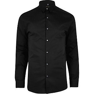 Black smart muscle fit shirt