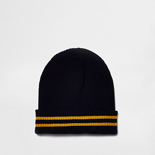 Navy contrast tipping beanie hat