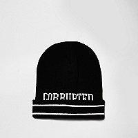 Black Corrupted slogan tipping beanie hat