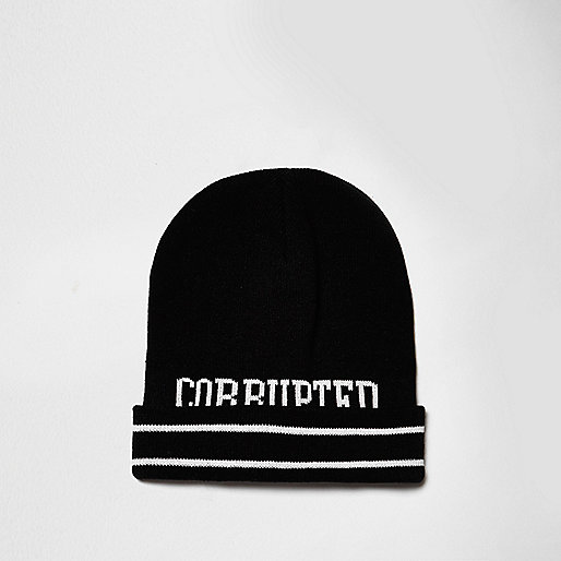 Black Corrupted slogan tipping beanie hat