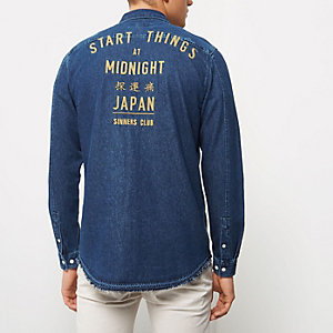 Dark blue frayed casual denim shirt