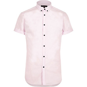 Pink smart slim fit short sleeve shirt