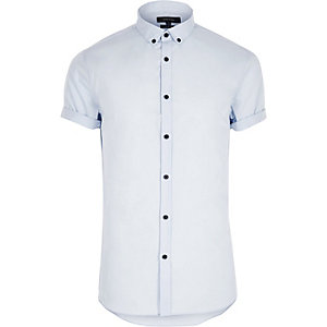 Blue casual slim fit short sleeve shirt