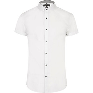 White penny collar smart slim fit shirt