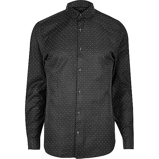 Black print smart slim fit shirt