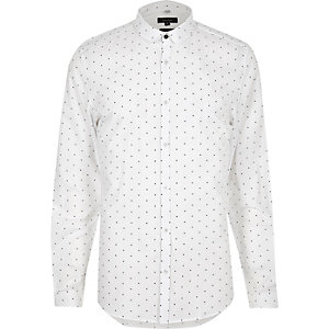 White dot print penny collar shirt