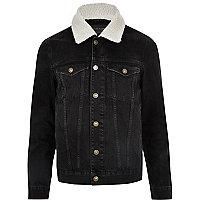 Schwarze Jeansjacke mit Borg-Kragen