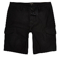 Black relaxed fit cargo shorts