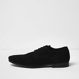 Black suede smart derby shoes