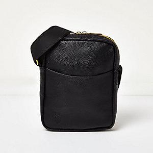 Black Mi-Pac tumbled leather look small bag