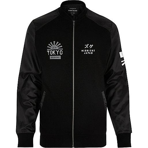 Black 'Tokyo' embroidered bomber jacket