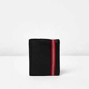 Black red elastic band fold out wallet