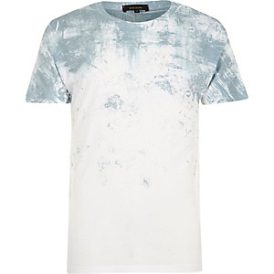 White and mint textured faded print T-shirt
