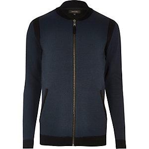 Blouson style cardigan bleu marine