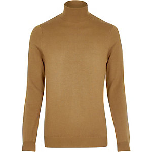 Brown roll neck jumper