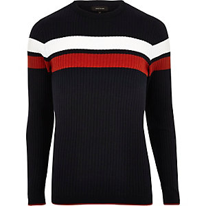 Navy stripe ribbed sweater