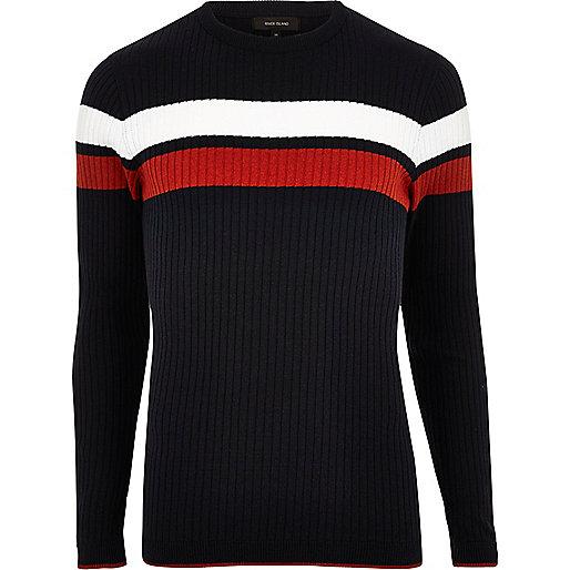 Navy stripe ribbed sweater