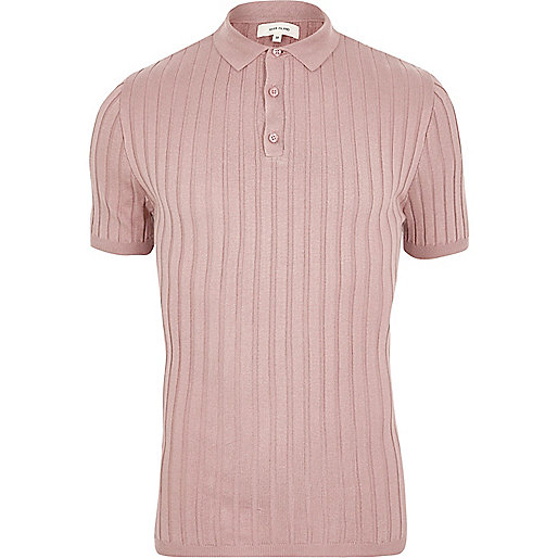 Pink ribbed muscle fit polo shirt