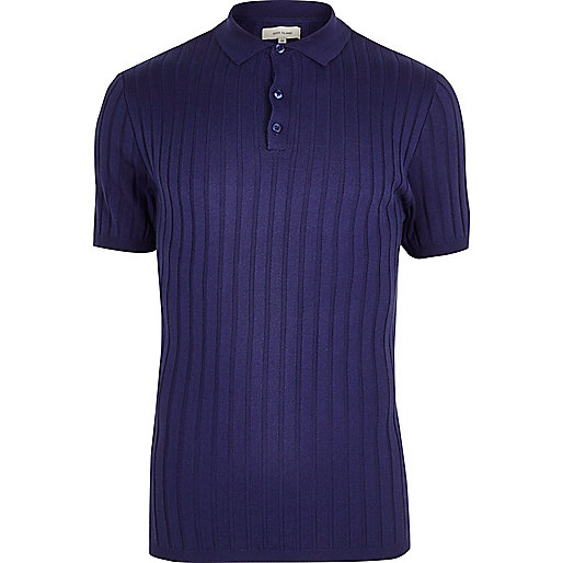 Purple ribbed muscle fit polo shirt